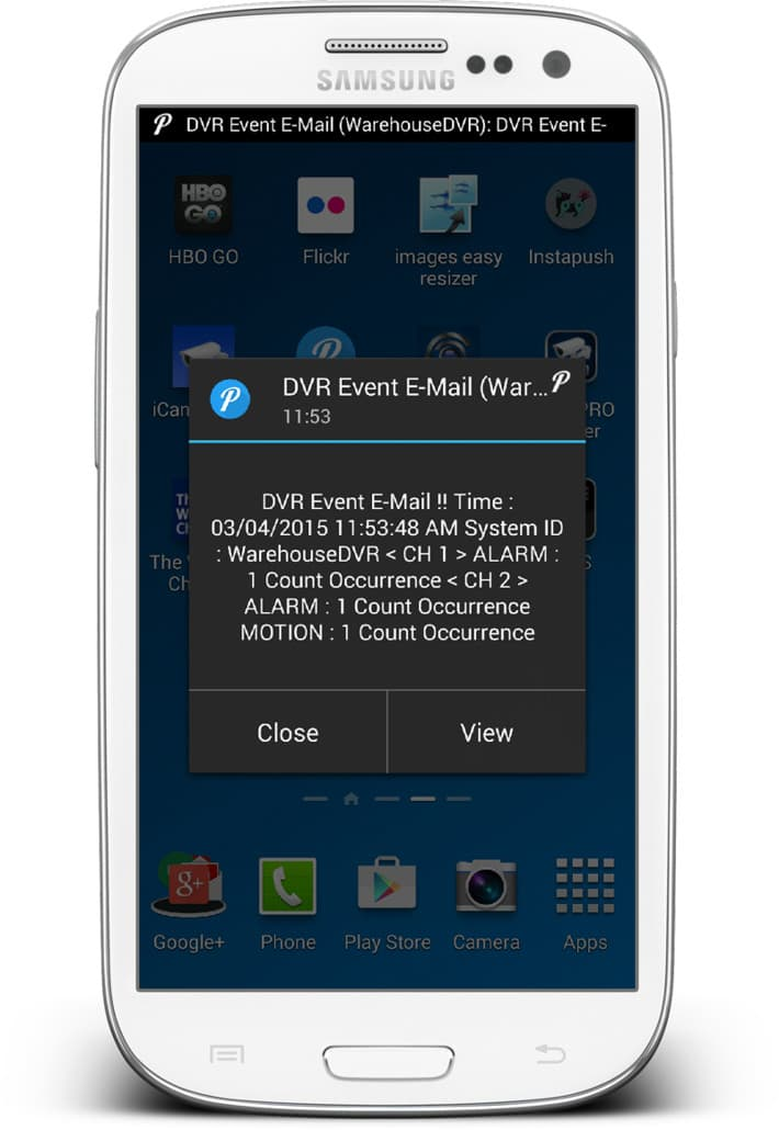 CCTV DVR Push Message Android App