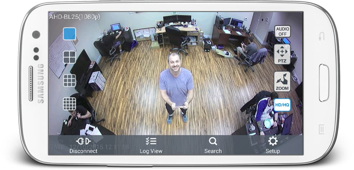 180 Degree Wide Angle Security Camera - Android App View