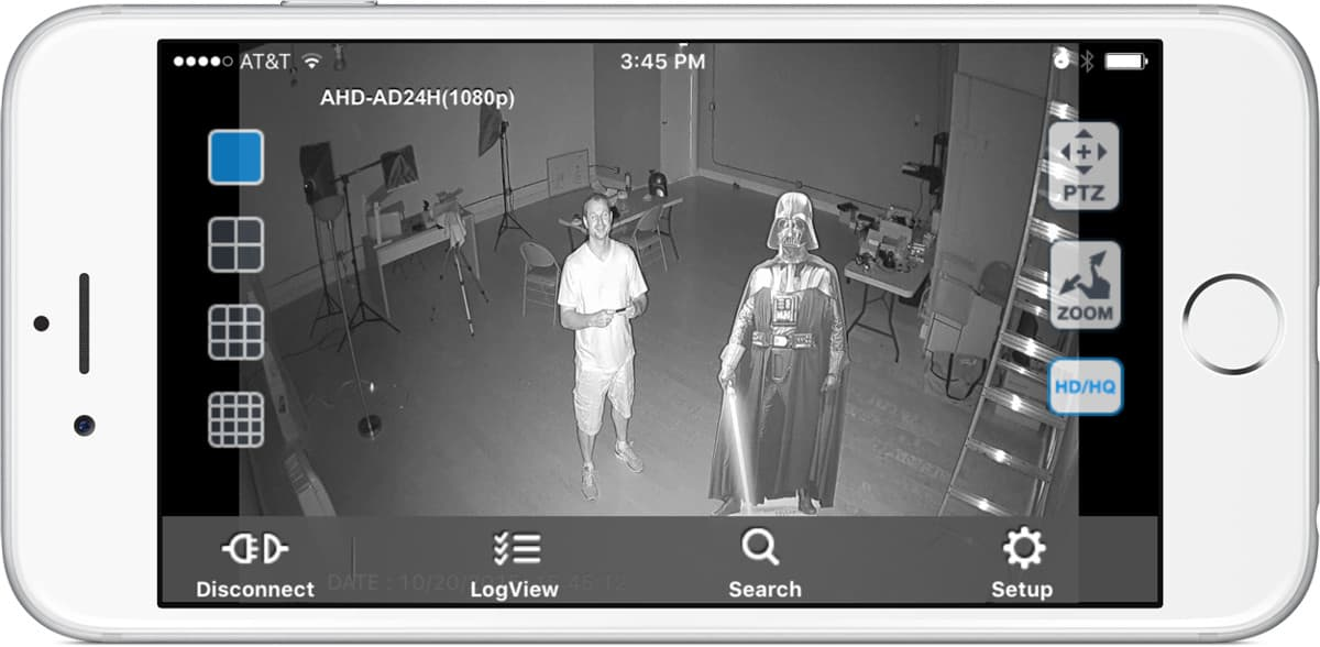AHD-AD24H 1080p Security Camera Remote Infrared View from iDVR-PRO iPhone App