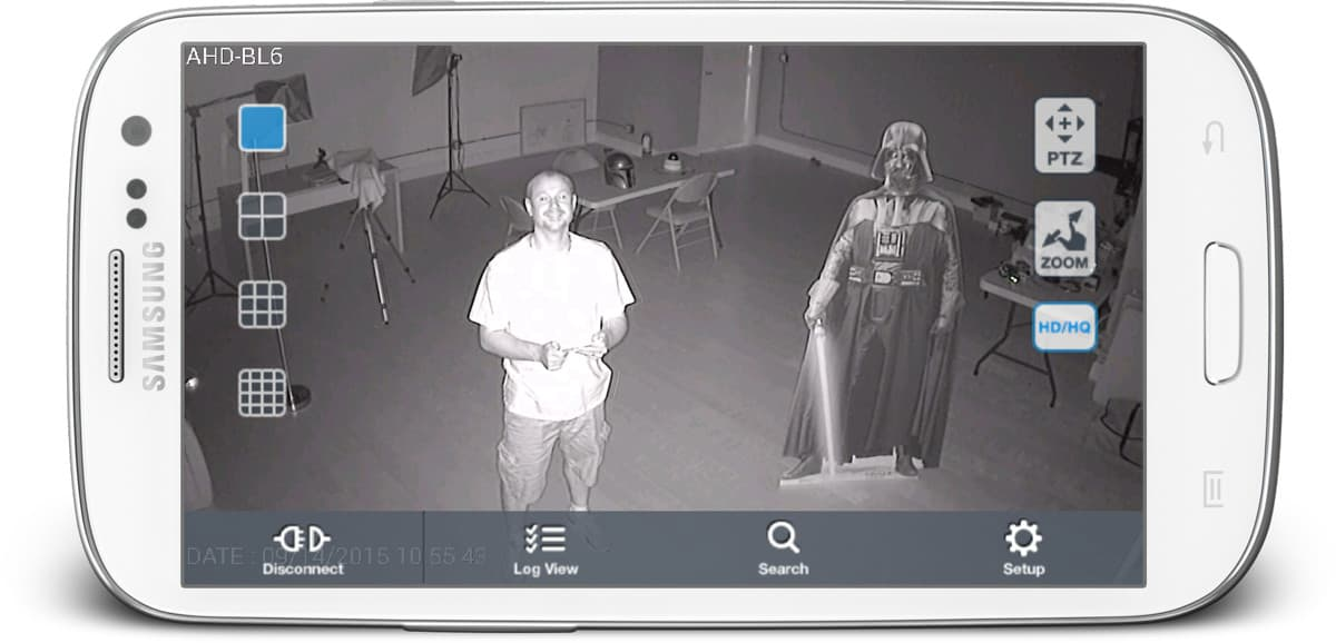 Infrared Security Camera View from Android App
