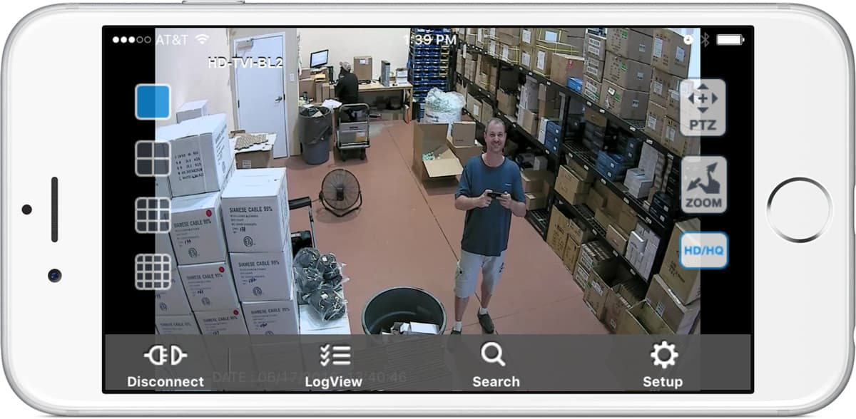 1080p HD-TVI Security Camera - iPhone App View