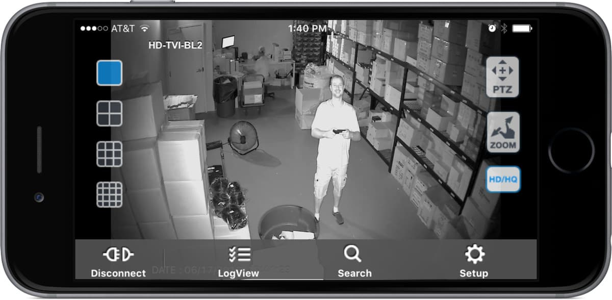 1080p HD-TVI Infrared Security Camera - iPhone App View
