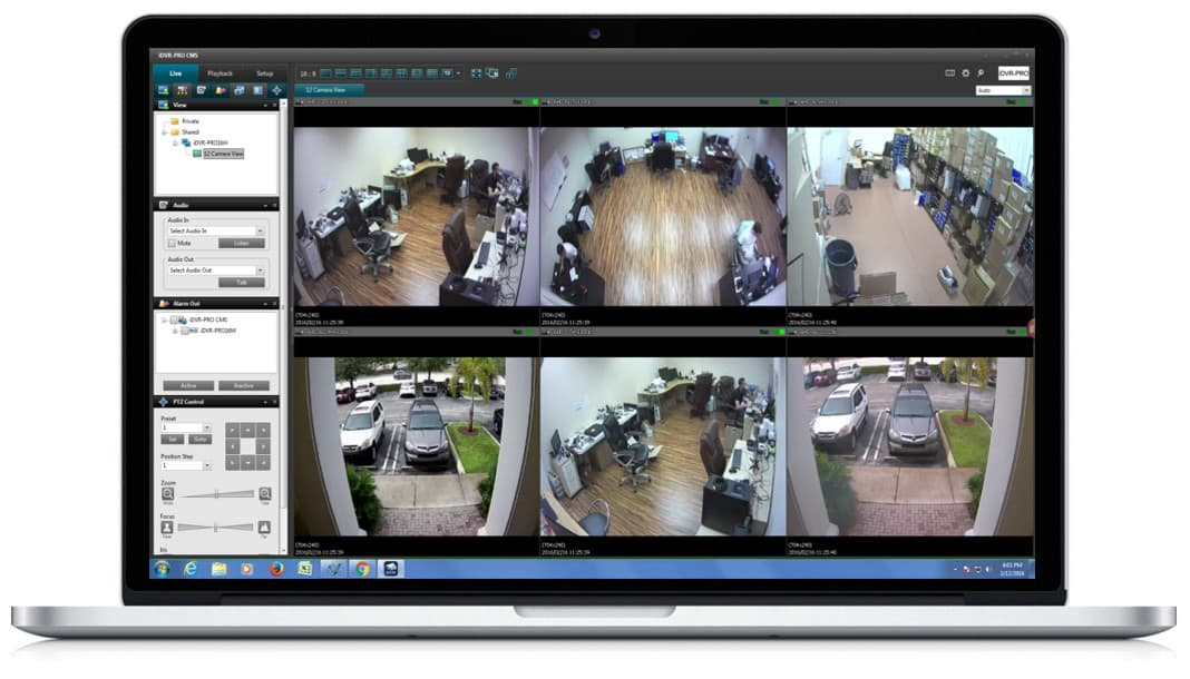 Windows DVR Software - Live Security Camera View