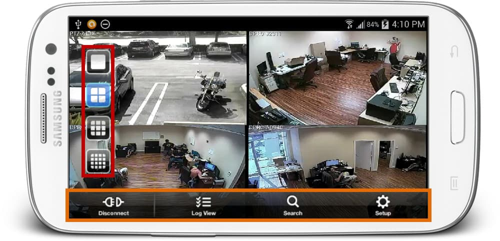 view security cameras from android app