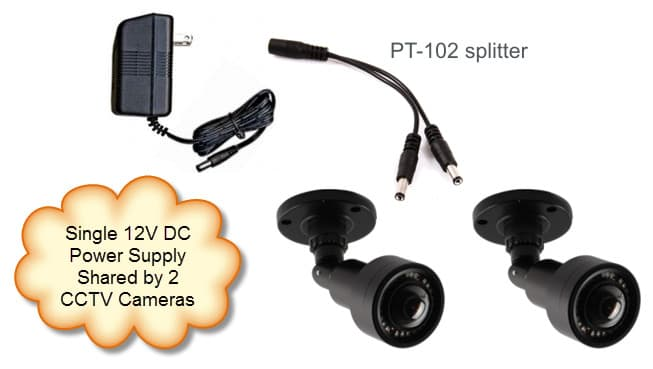 1 to 2 Power Cable Lead Splitter for CCTV Cameras