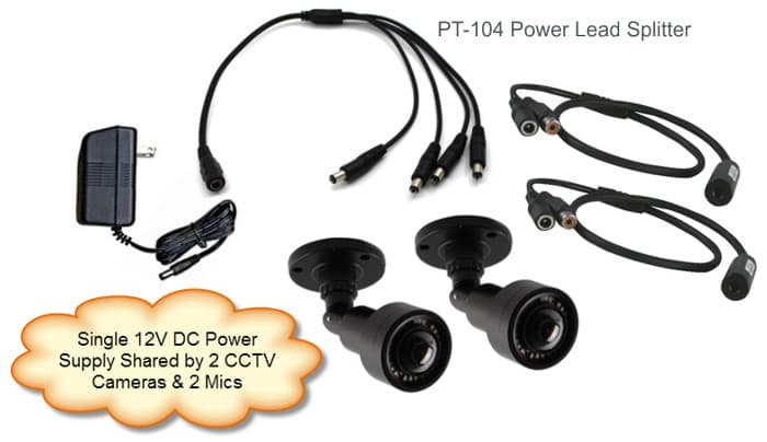 1 to 4 Power Cable Lead Splitter for Surveillance Cameras & Audio Mics