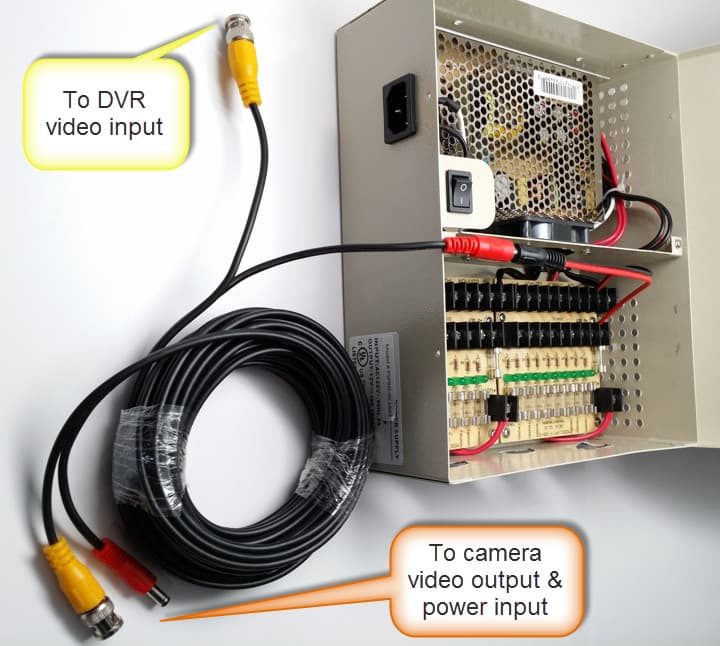 Cctv Power Supply Wiring Diagram : Security camera cables cctv premade
