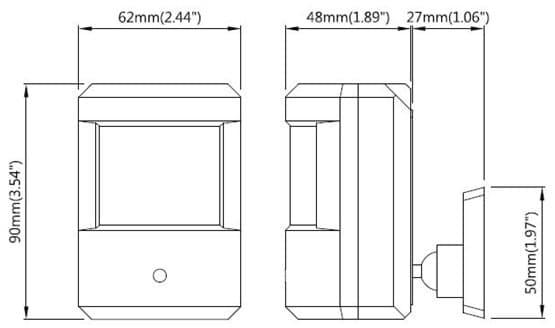 PIR Camera Dimensions