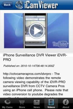 iCamViewer iPhone App Videos