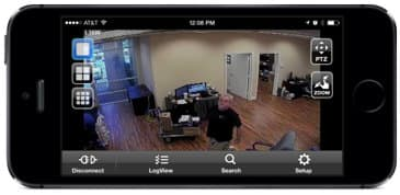 Single camera view of recorded video surveillance playback from iPhone