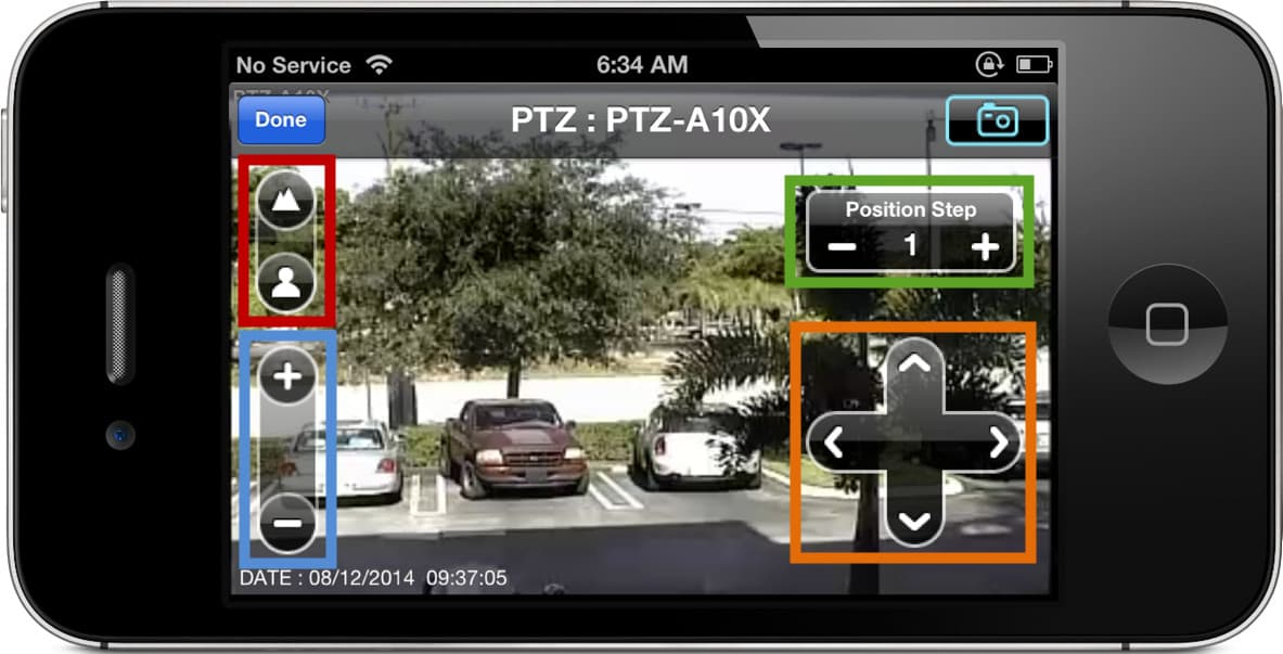 iPhone App PTZ Camera Controls