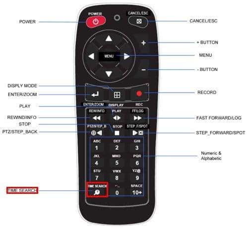 iDVR-E Quick Time Search Remote