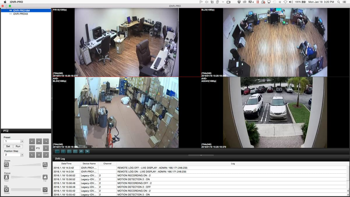 Mac Security Camera Software for iDVR-PRO Surveillance DVRs