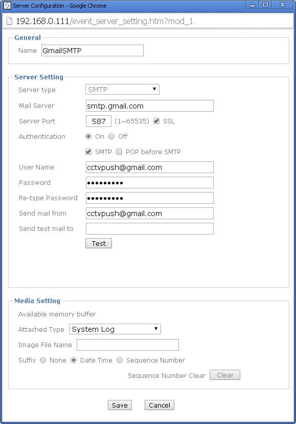 IP Camera Email Setup