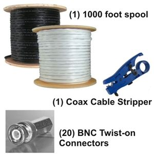 BNC Twist Connectors RG59 Cable Kit