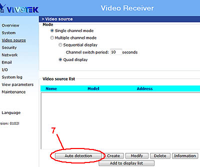 Video Decoder Setup - Video Source Detection