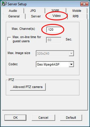 While configuring the webcam server, please confirm that you have the max ...