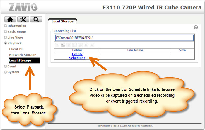 IP Camera SD Card Video Recording Playback