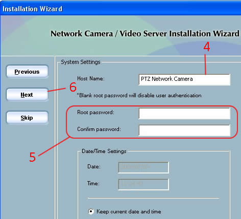 Video Stream Setup - Enter Hostname and Password