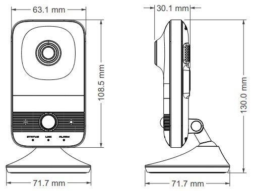 Wireless IP Camera Dimensions