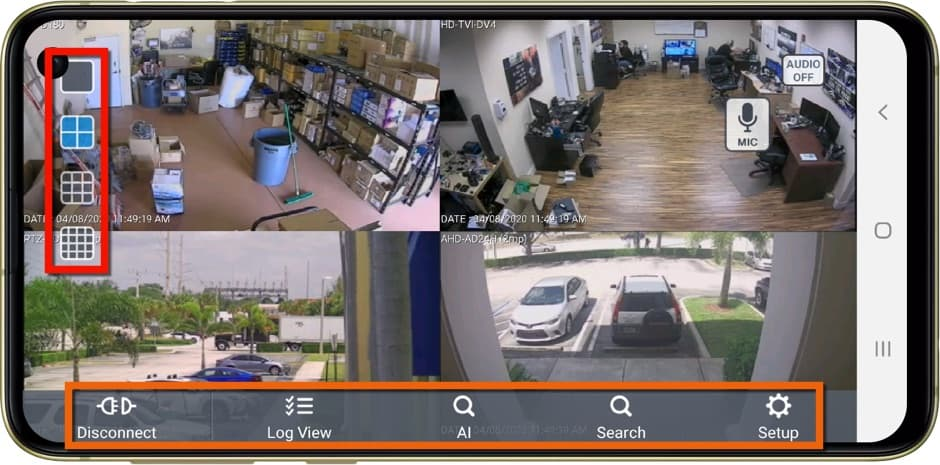 iDVR-PRO Android Security Camera App Controls