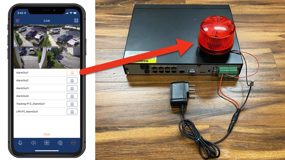 Trigger DVR Alarm Output with iPhone App