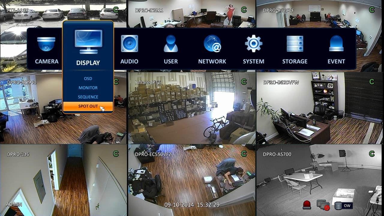 Spot Monitor Video Output Setup for iDVR-PRO 960H / H.264 ...