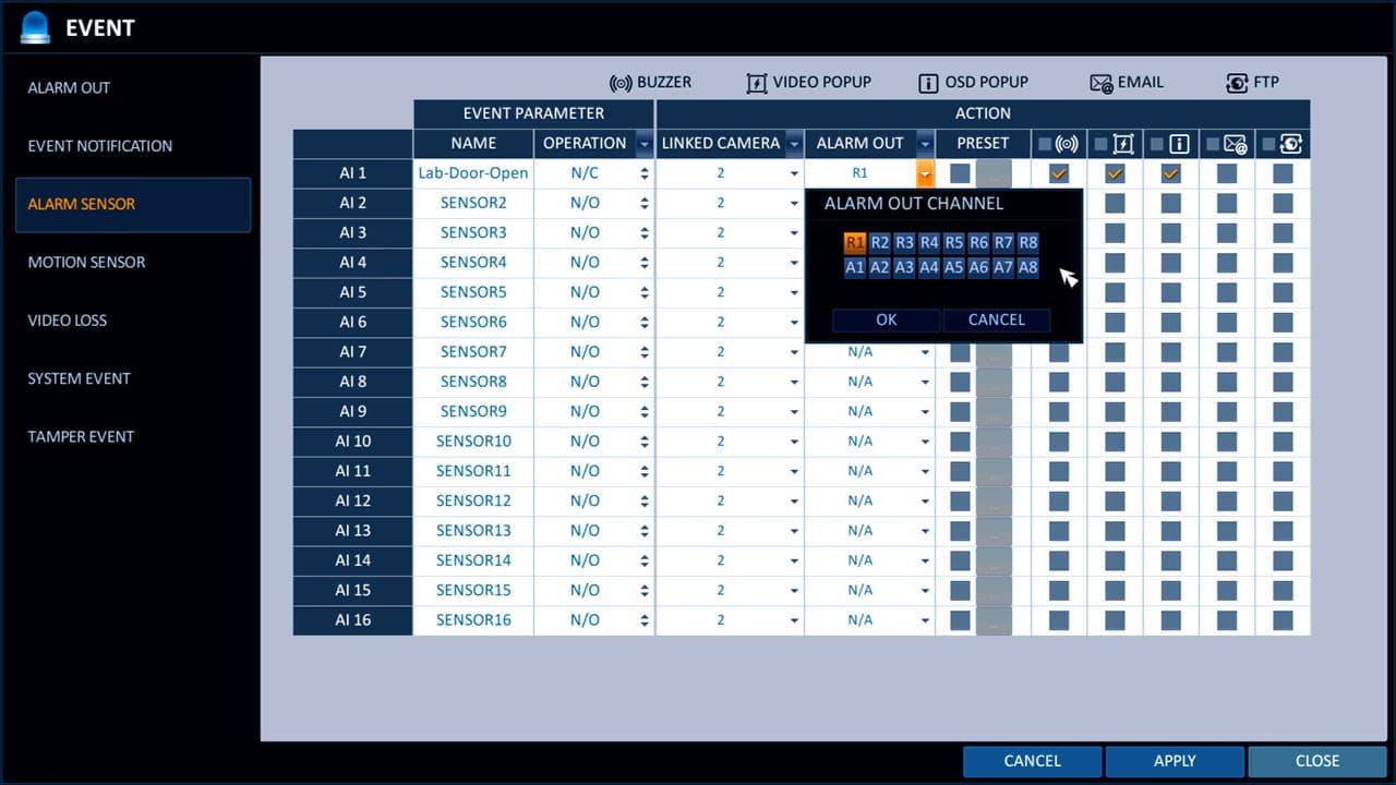 CCTV DVR Alarm Output Setup