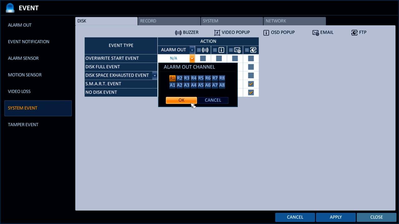 CCTV DVR Disk Full Alarm Output