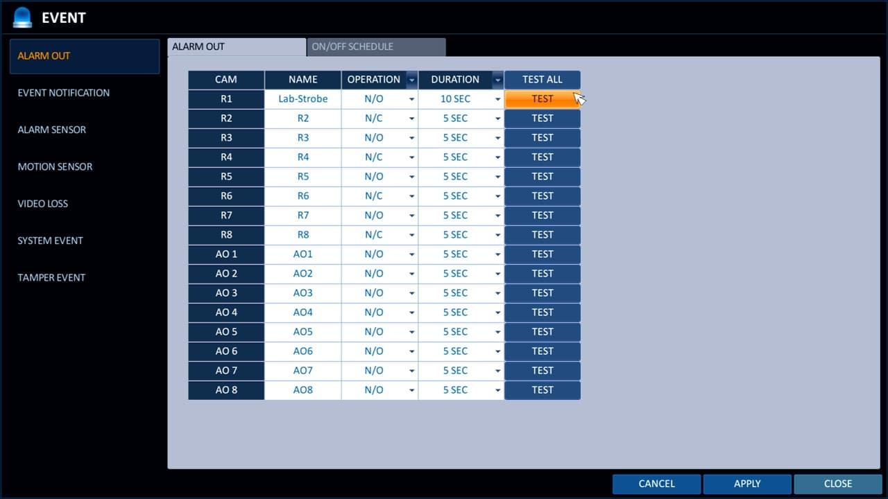 Surveillance DVR Alarm Output Setup