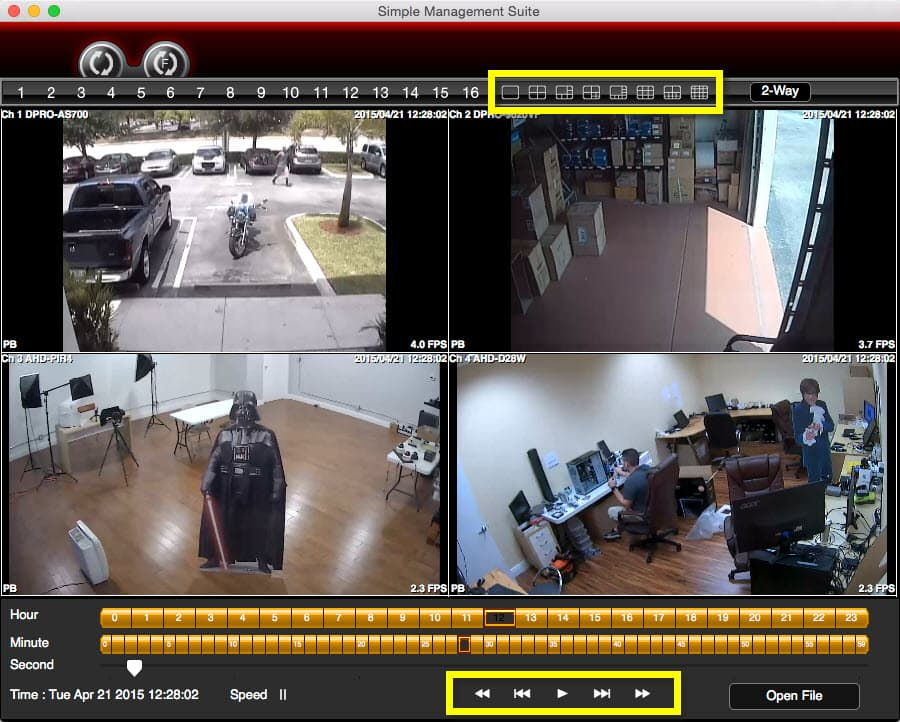 Mac CCTV Software Controls