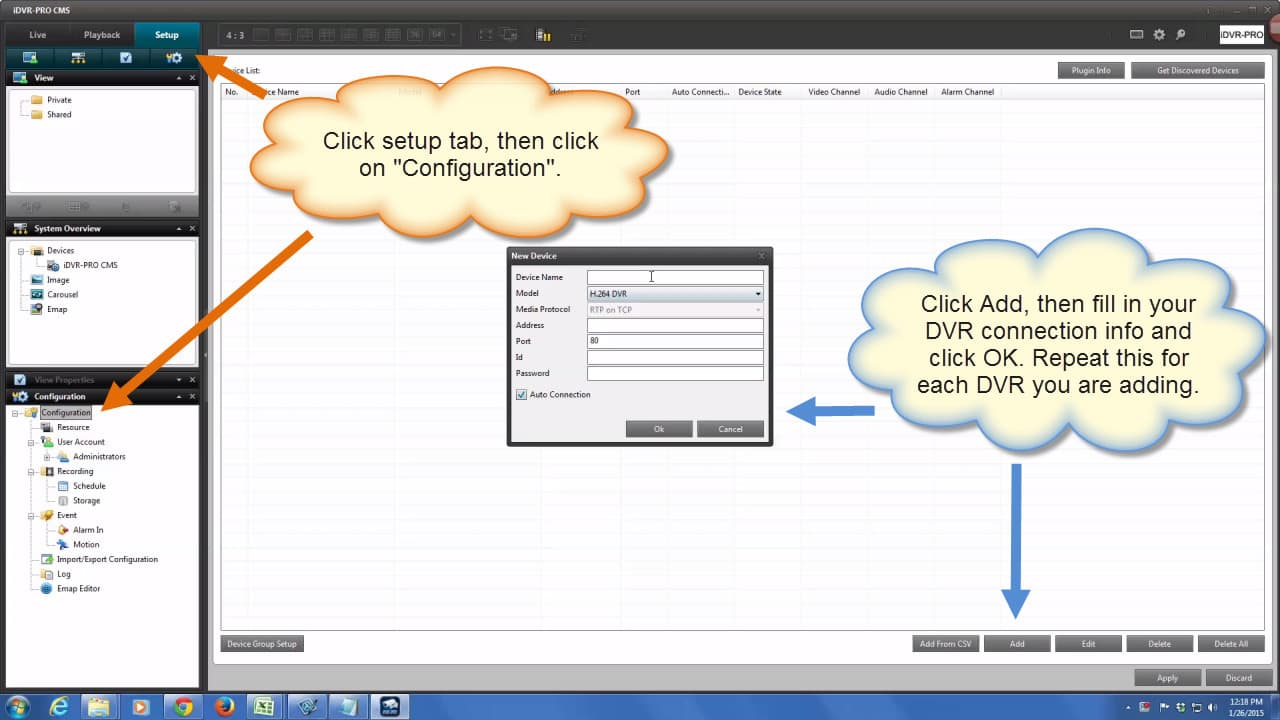 Configure DVR Software
