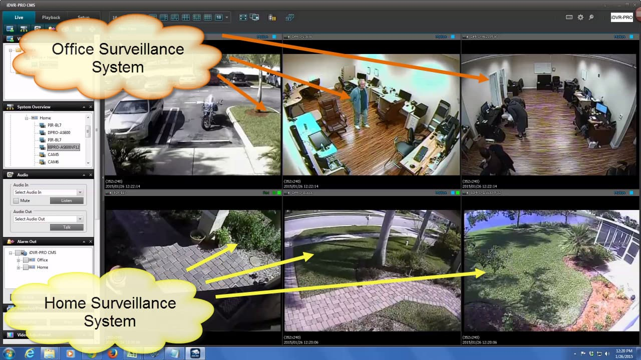 Monitor cctv cameras from multiple dvr locations with cms for Security camera placement software