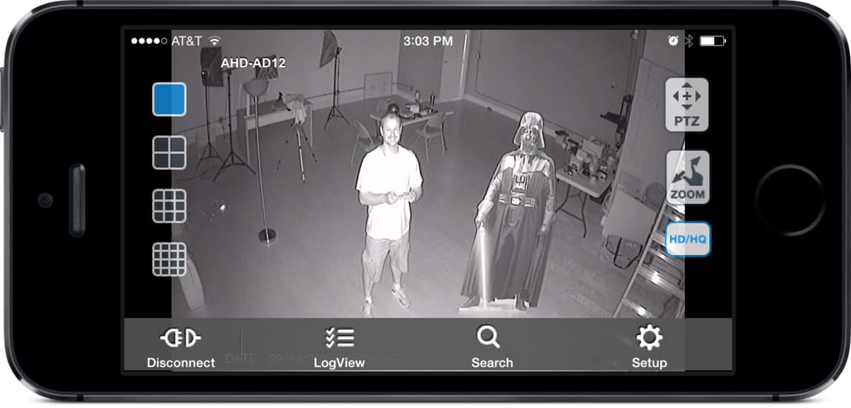 AHD-AD12 HD CCTV Camera IR Surveillance View from iDVR-PRO iPhone App