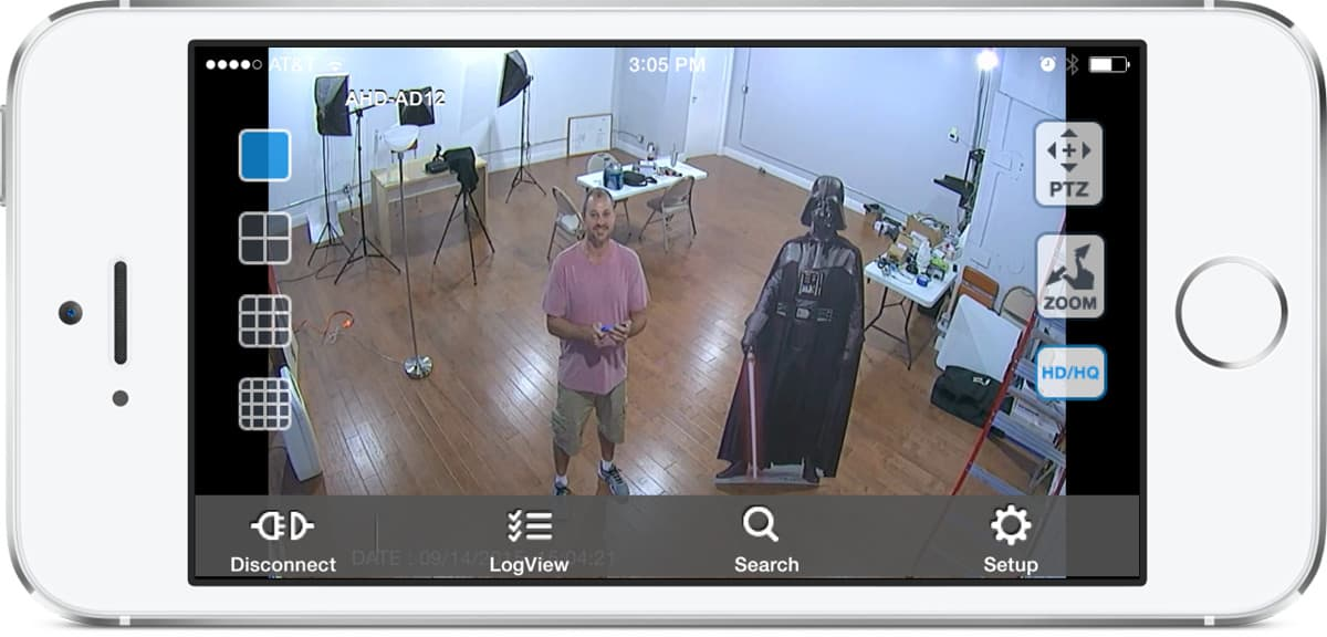 AHD-AD12 HD CCTV Camera View from iDVR-PRO iPhone App
