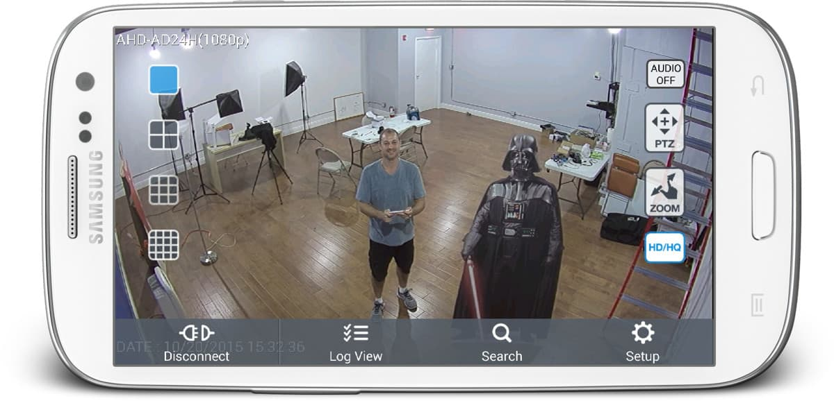 AHD-AD24H 1080p Security Camera View from Android App