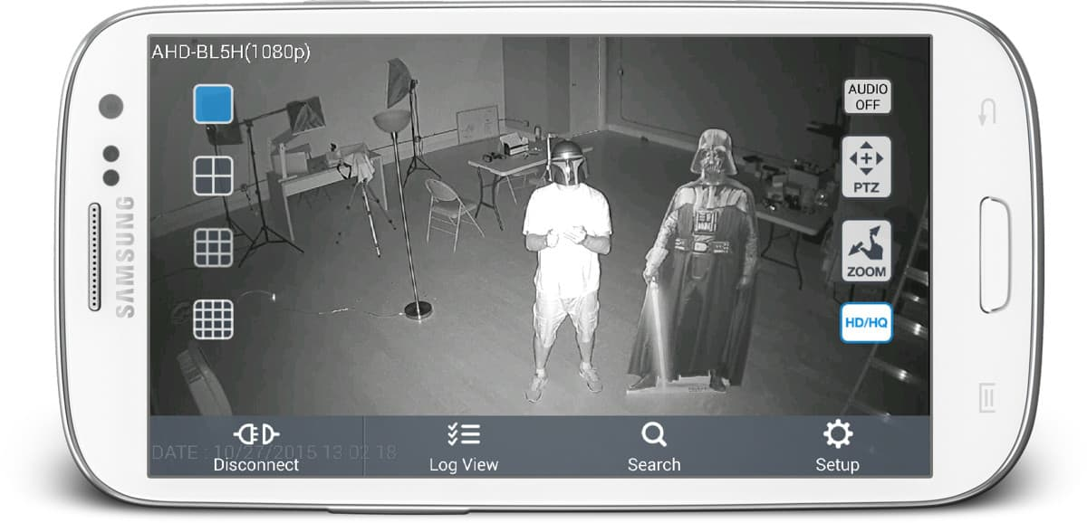 AHD-BL5H 1080p HD CCTV Camera - Infrared Surveillance View from Android App