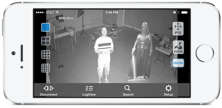 HD CCTV Camera View from iDVR-PRO Viewer iPhone App