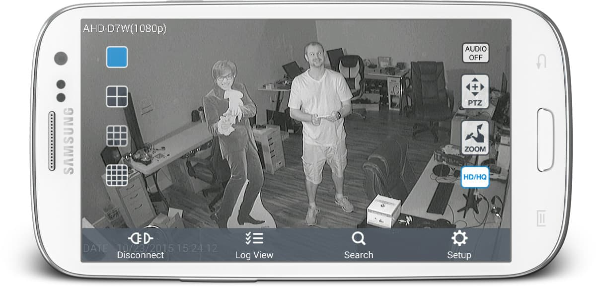 AHD-D7W 1080p CCTV camera View from android app - camera is using infrared-surveillance mode