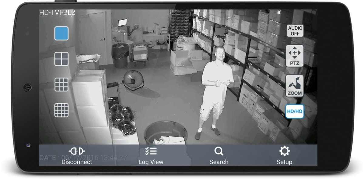 1080p HD-TVI Security Camera - Infrared Surveillance View from Android App