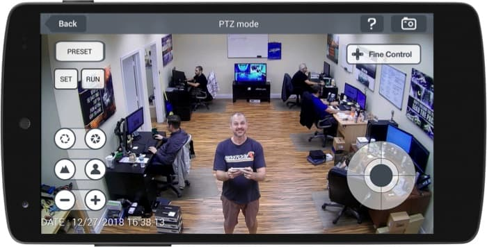 PTZ Security Camera Controls from Android Mobile App