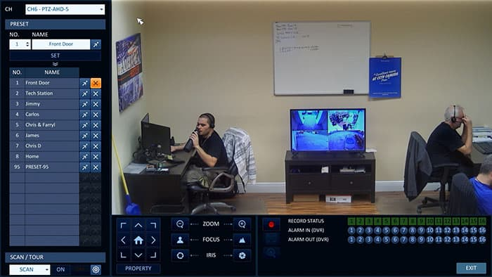 Surveillance DVR Controls for PTZ Security Camera