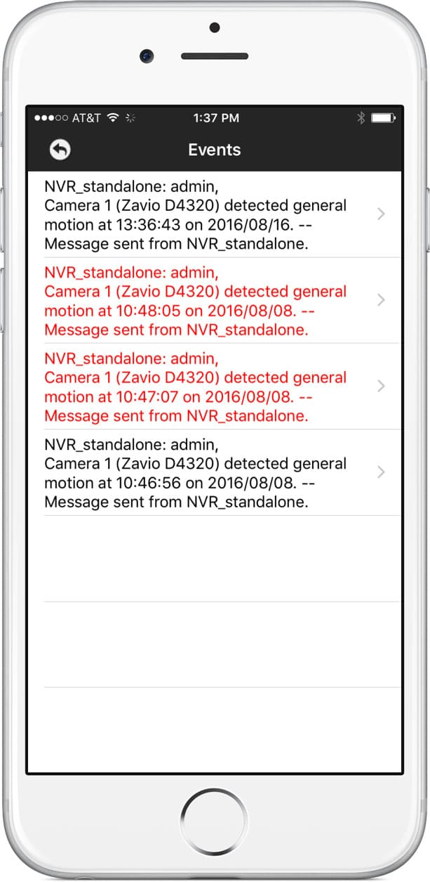 iPhone App Motion Detection Event Log