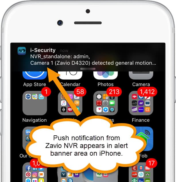 iPhone App Push Notification from IP Camera Motion Detection