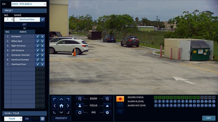 HD PTZ Controls from iDVR-PRO Surveillance DVR