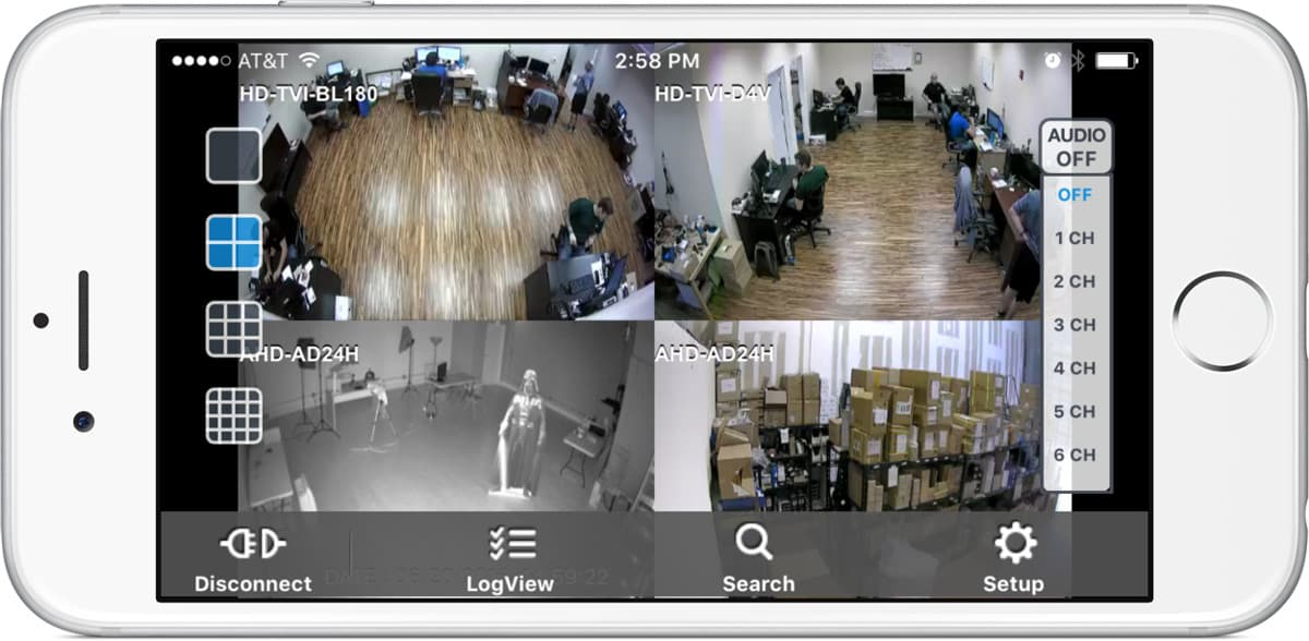 Multiple Security Camera View on iPhone with Audio