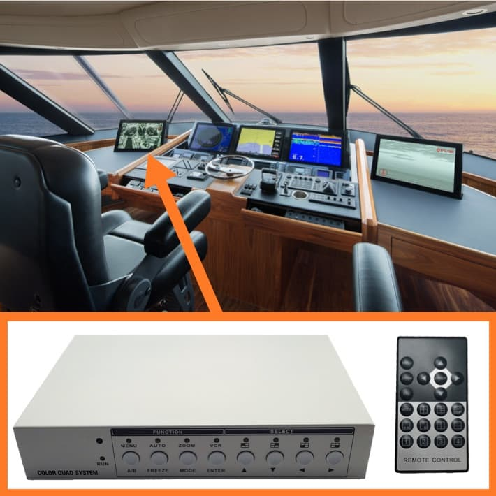 CCTV Multiplexer for Boat Camera System Monitor