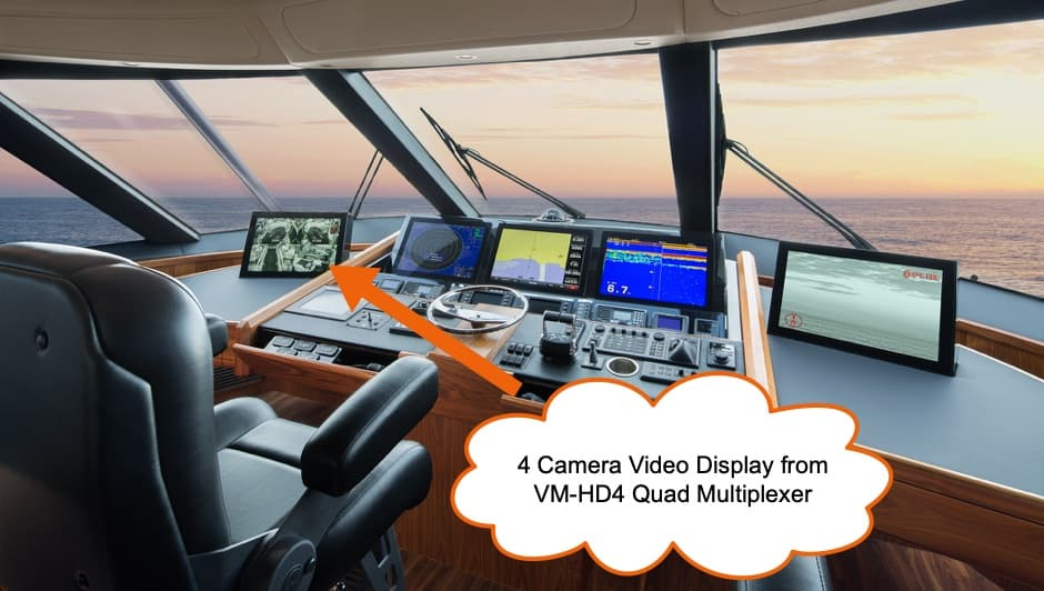 Multiple Camera Video Display for Boat