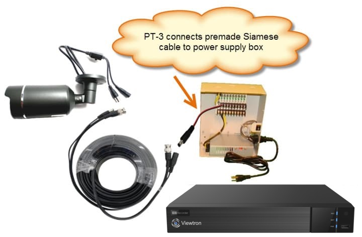 12V DC Power Cable Lead Connect to Power Supply Box. This CCTV camera installation ...