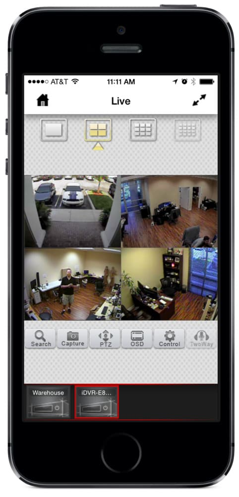 iPhone Security Camera Mobile App Portrait View